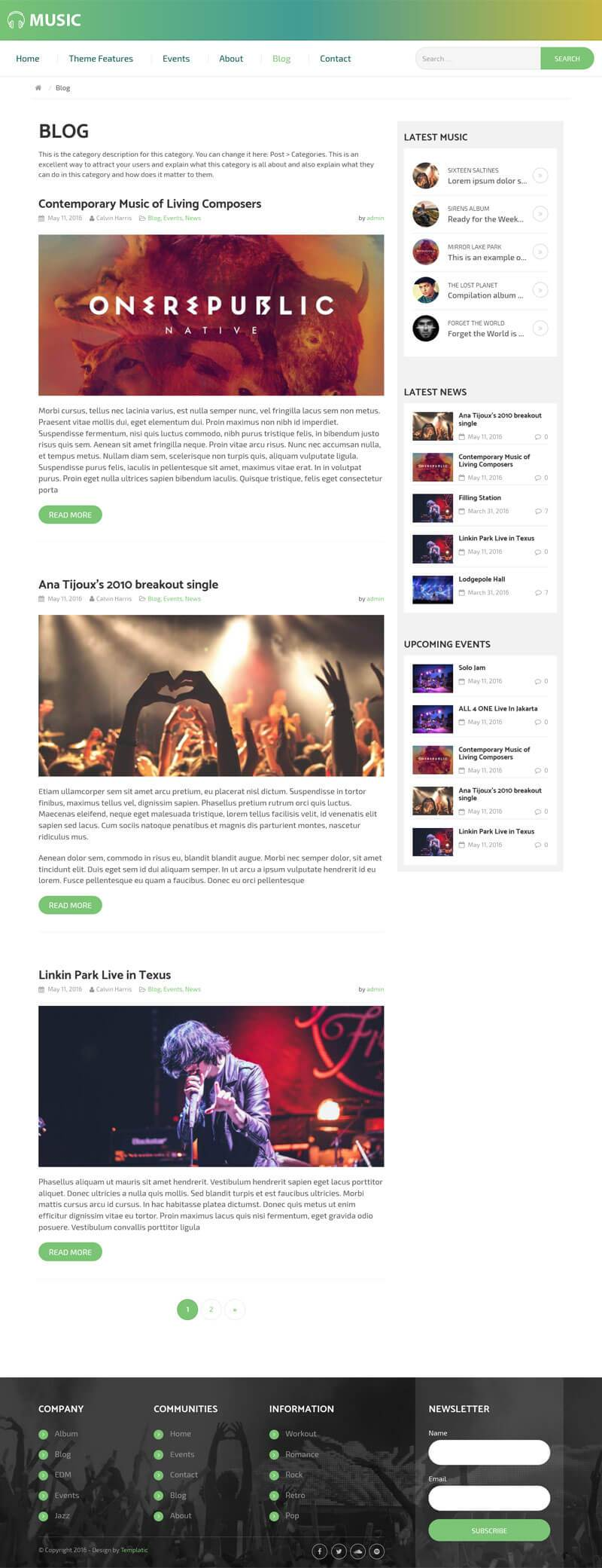 Music Theme With Blog