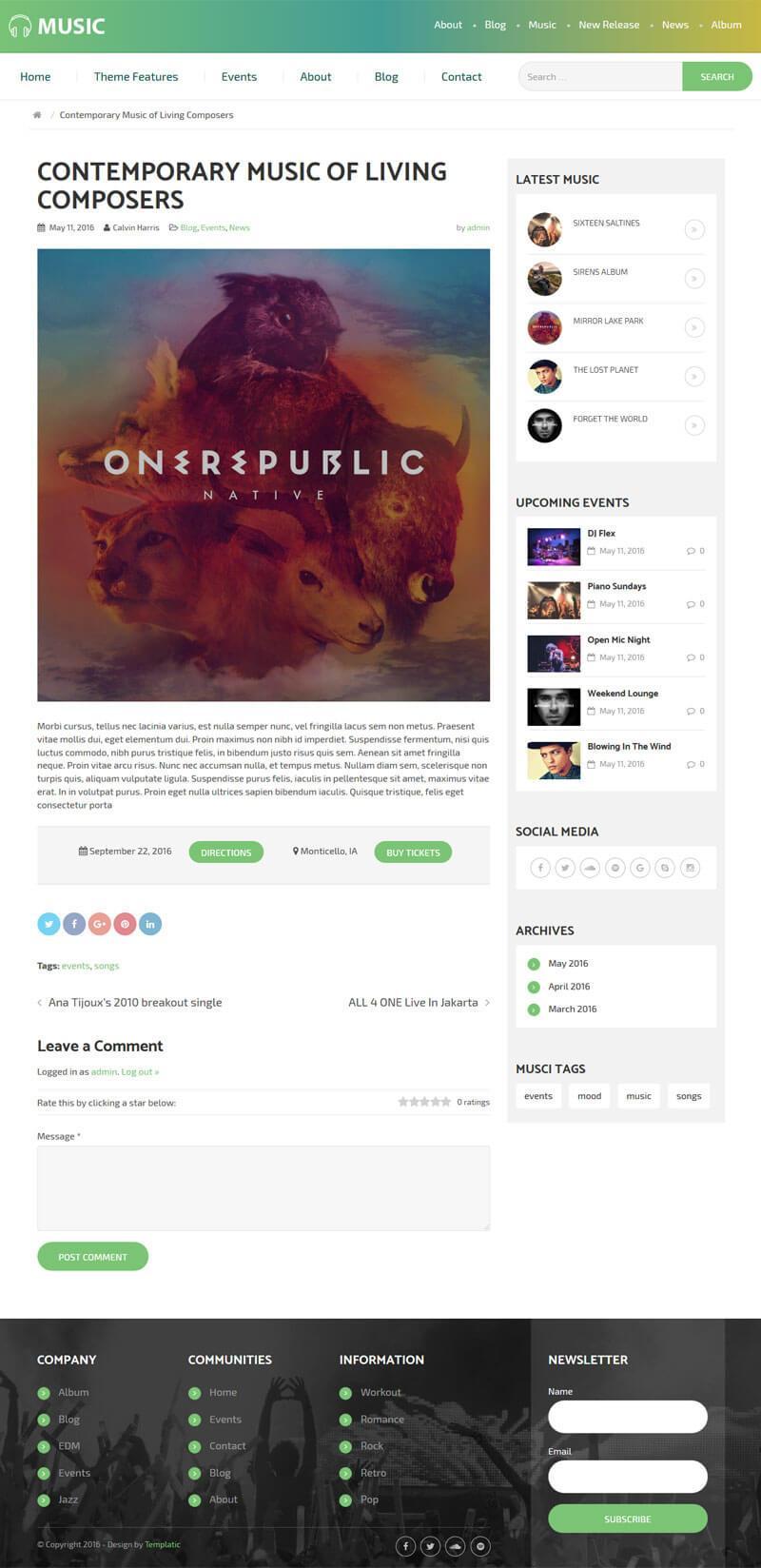 Music Theme For WordPress