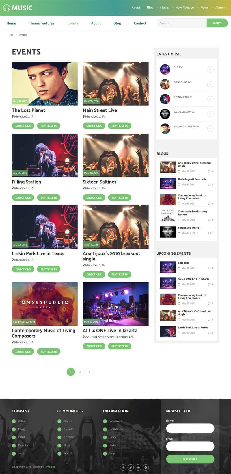 WP Music Events Template