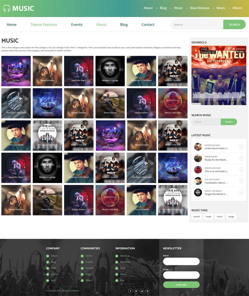 Music Page In WordPress Music Theme