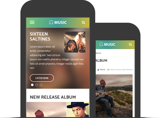 Mobile Friendly Responsive WordPress Music Theme
