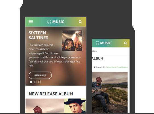 Mobile Friendly Responsive WordPress Music Theme