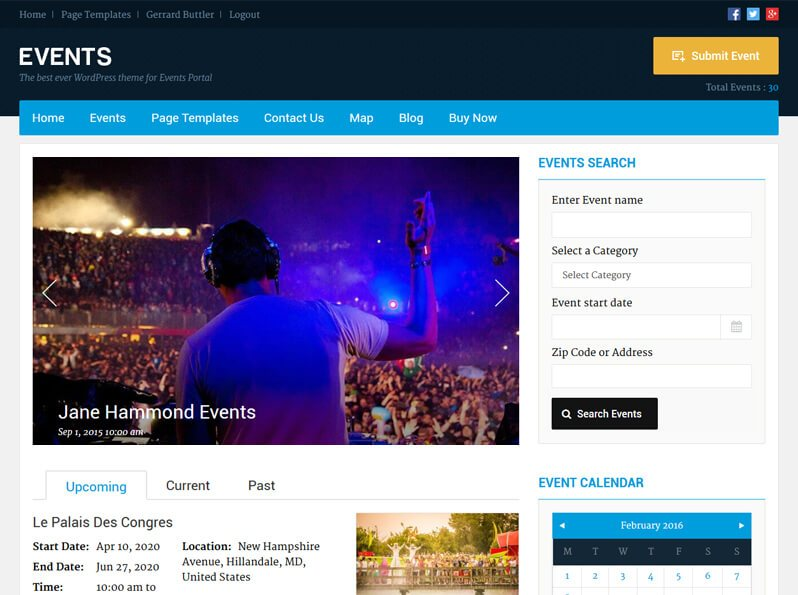 Best WordPress Event Theme 2018 | Create Responsive Events Listing ...