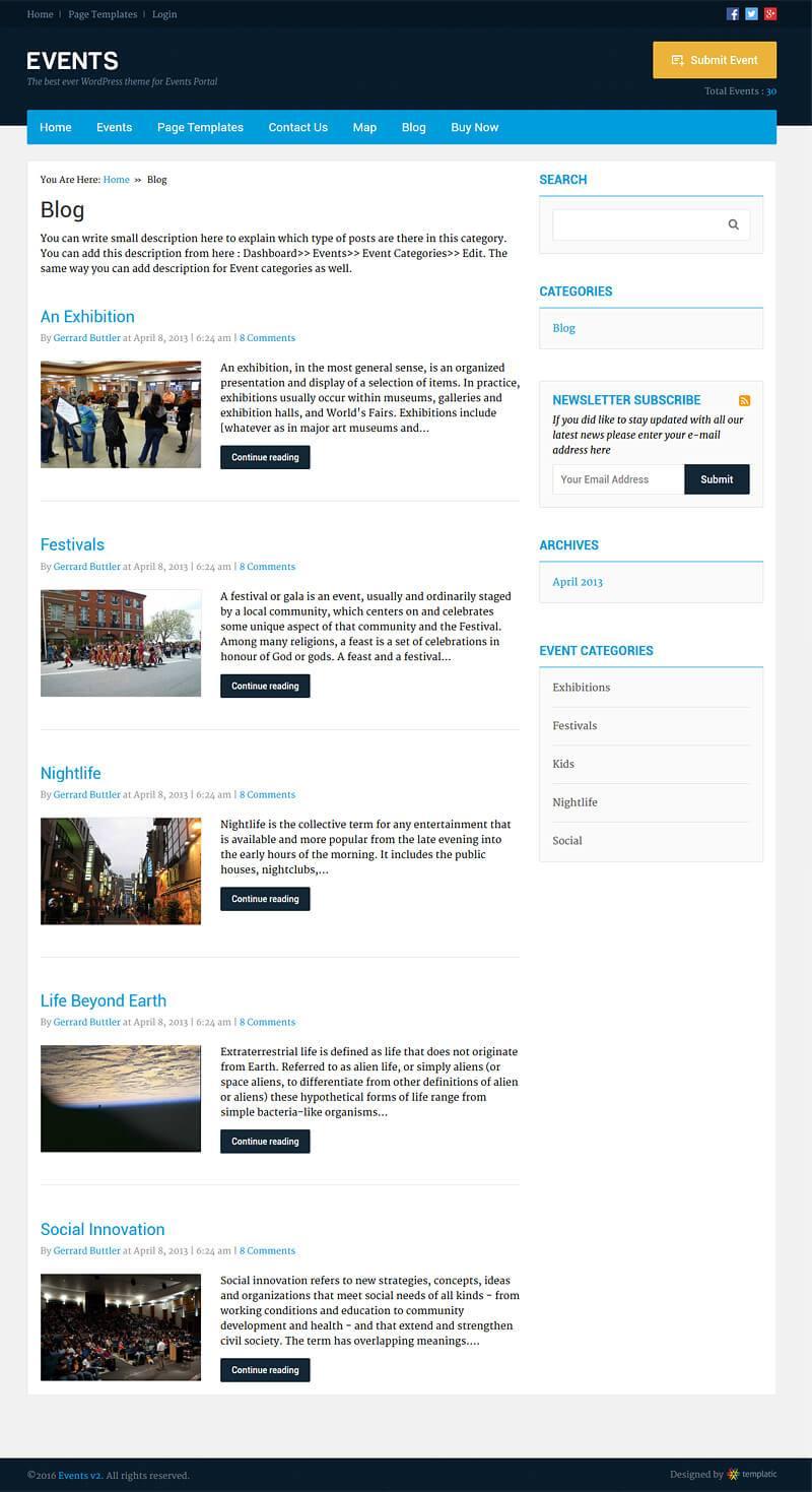 Event Theme Blog