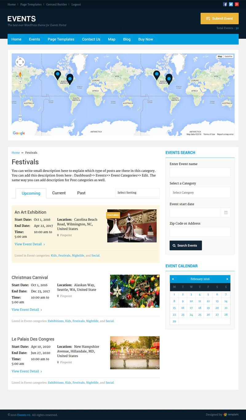 Events Calendar WordPress Theme