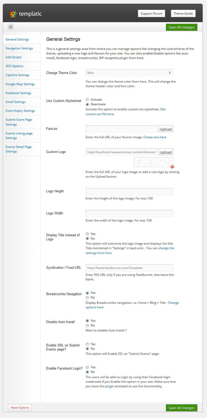 Customize Events Theme
