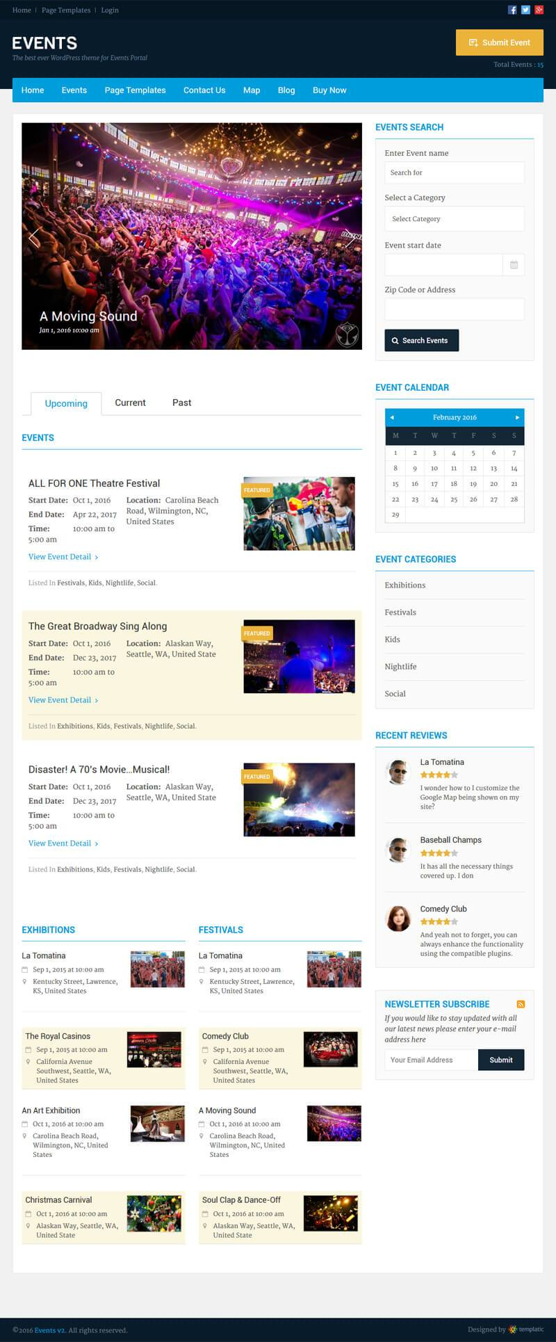 Full Page WP Event Theme