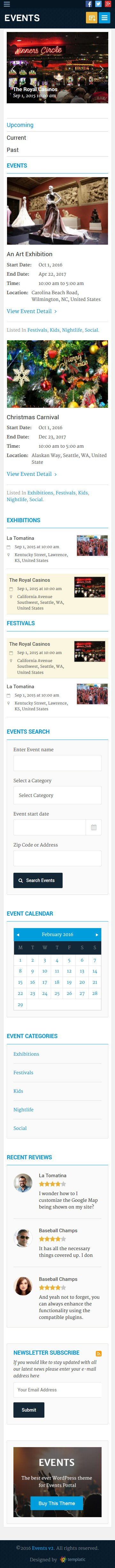 Mobile Friendly WP Events Theme