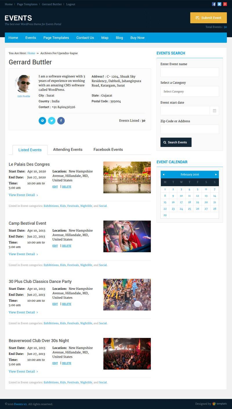 Event Organizer Profile Page