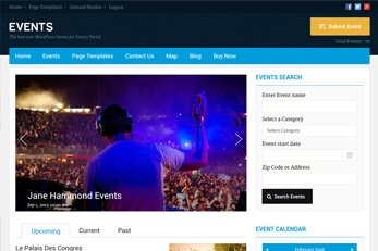 WP Events Theme Homepage