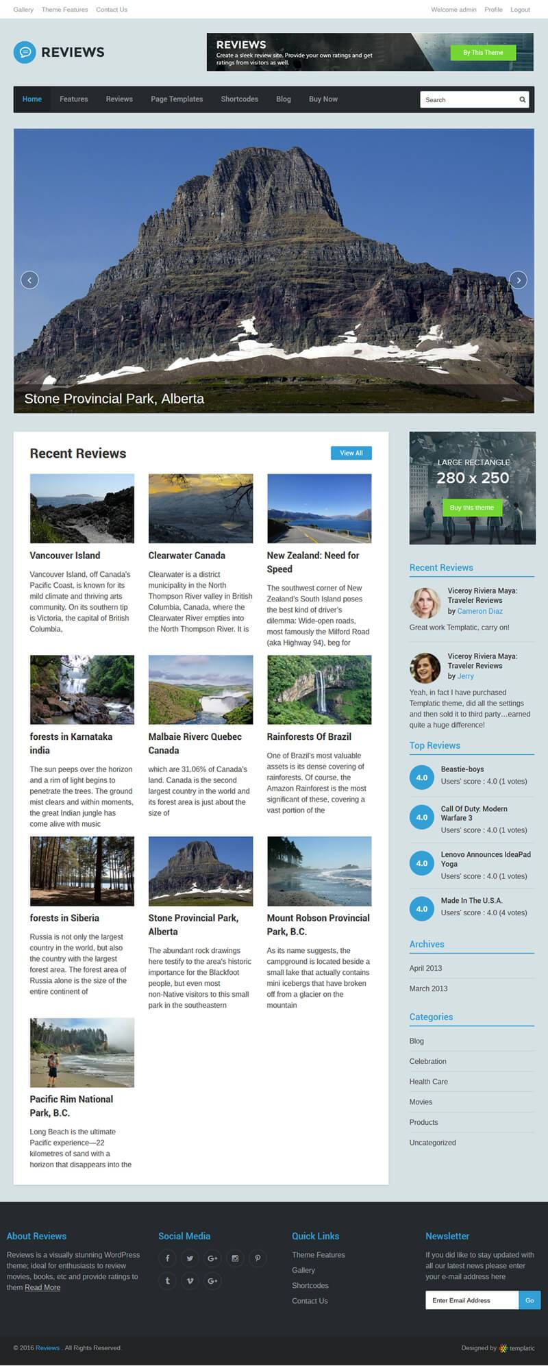 Grid View In Reviews WP Theme