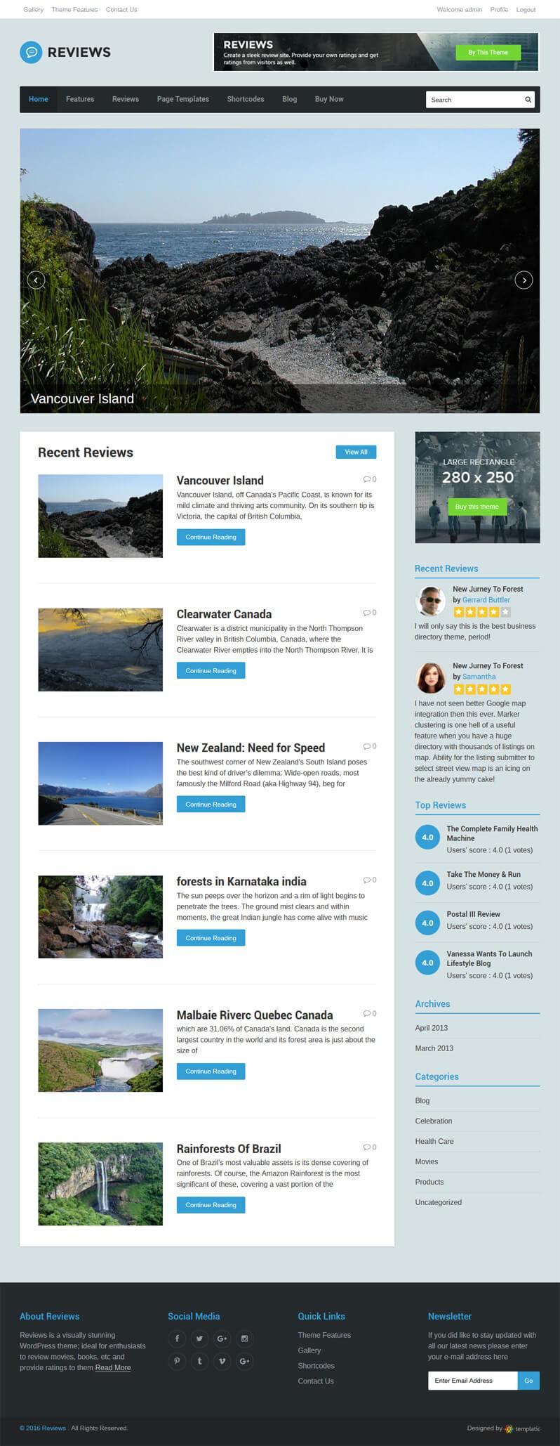 Review site WordPress theme