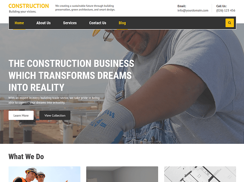 Construction WordPress Quick Edit Theme