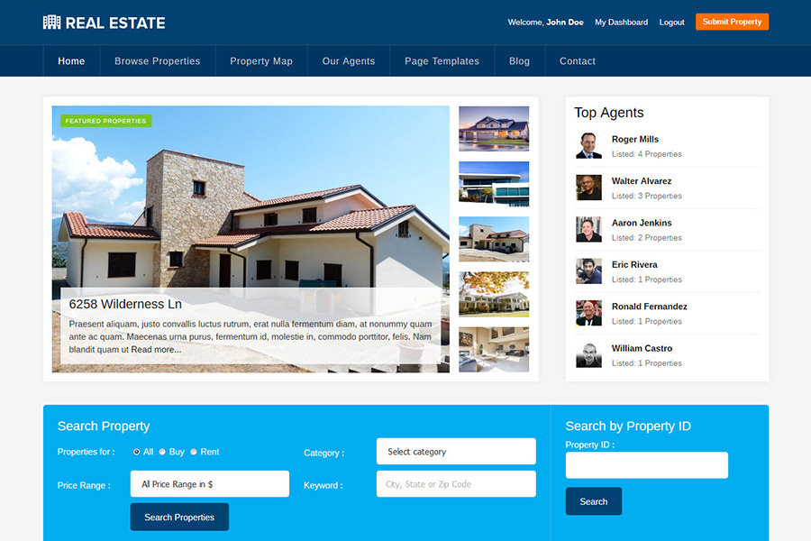 WordPress theme for realtors, estate agents