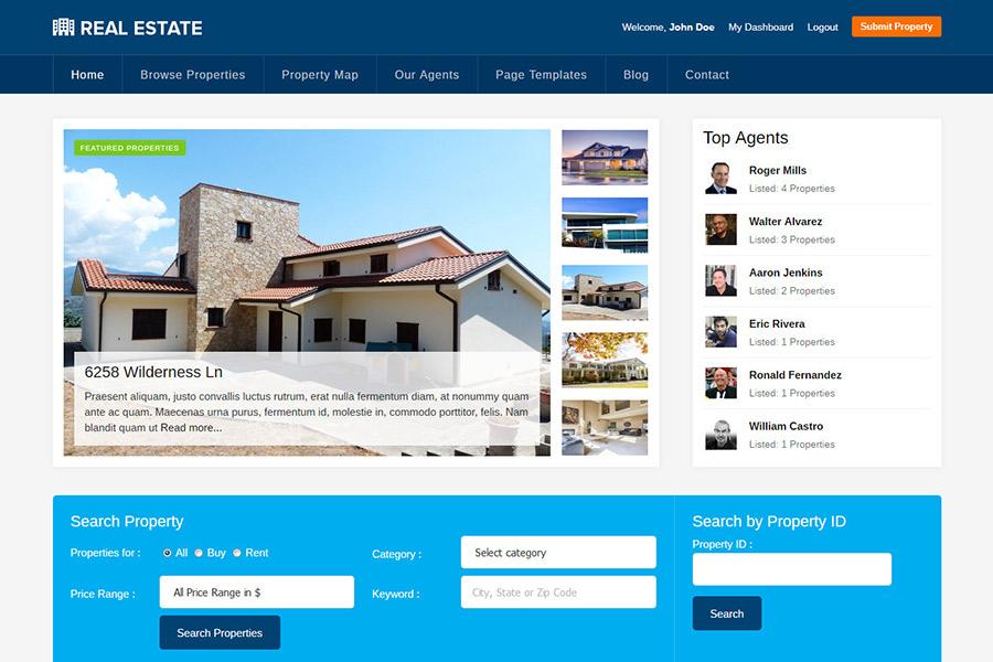 WordPress theme for realtors, estate agents