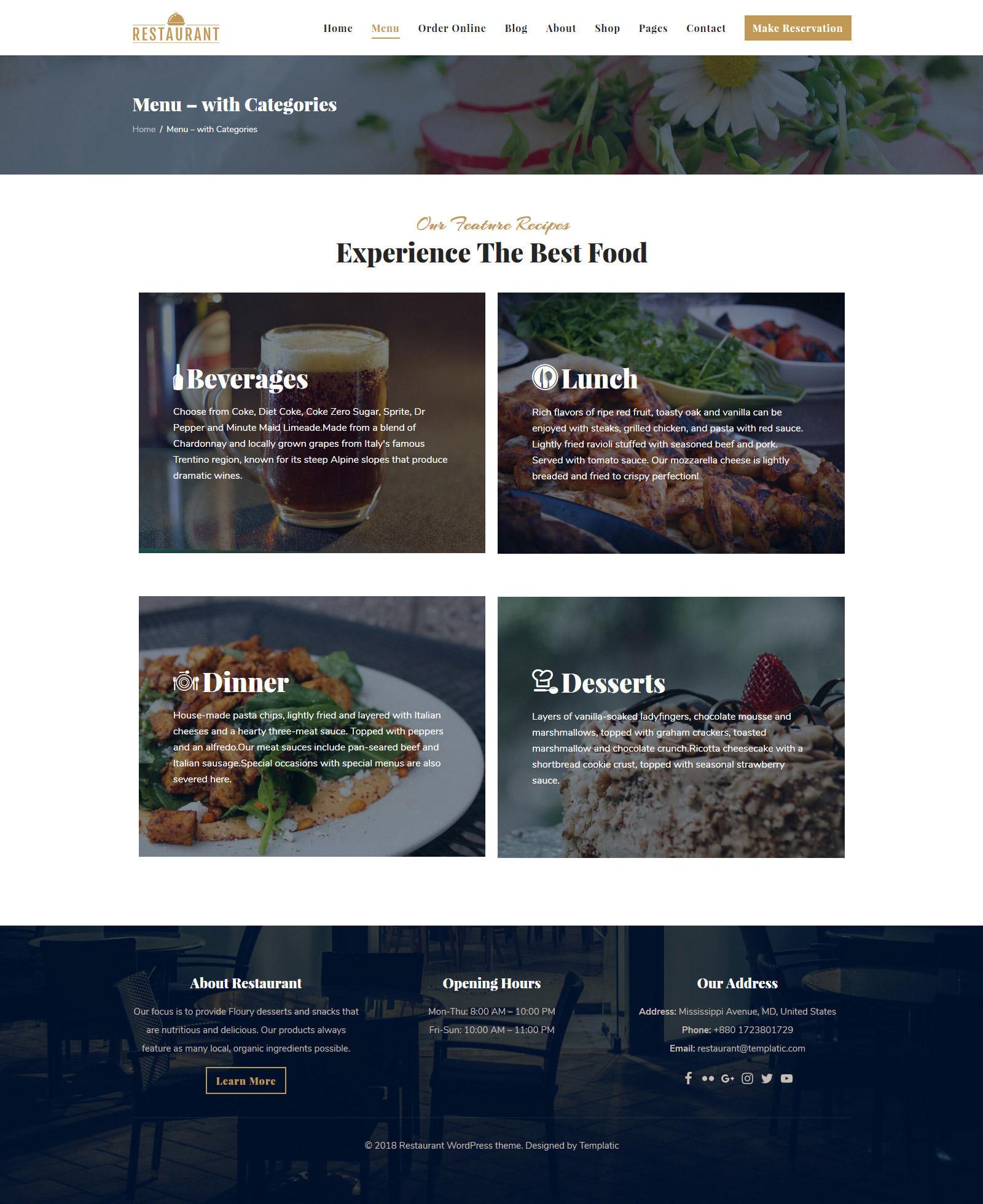 1 wordpress restaurant theme 2019 with booking woocommerce