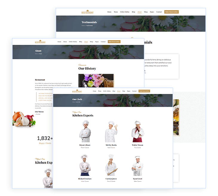 Ready to use restaurnat and menu pages