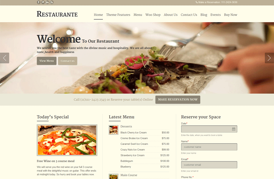 Restaurant Wordpress Theme Geccetackletartsco - Restaurant template wordpress