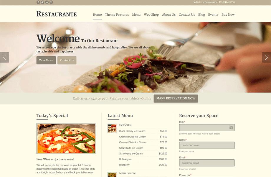 Restaurant Wordrpess Themes Restaurant WordPress Theme   Restaurante A Responsive WP Theme