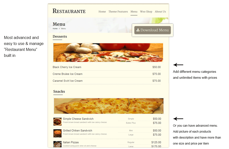 Order menu for Restaurant WordPress Theme