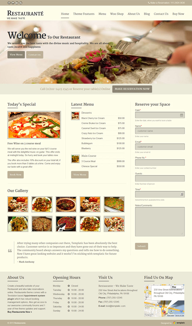Restaurant WordPress Theme | Restaurante Responsive Theme [2018]