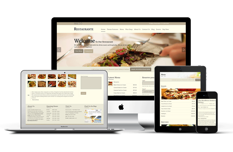 Restaurant wordpress theme restaurante responsive