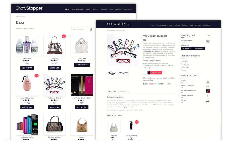 ShowStopper - responsive one page e-commerce theme