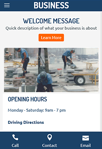 Mobile View of Small Business Theme