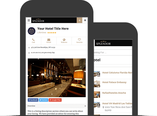 Mobile App View WordPress Hotels Theme