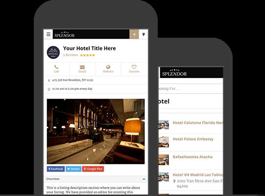 Mobile App View WordPress Hotels Theme