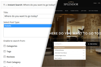 Hotels Finder WordPress Theme Search Options