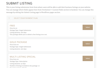 Free And Paid Submission Packages WordPress Hotels Theme