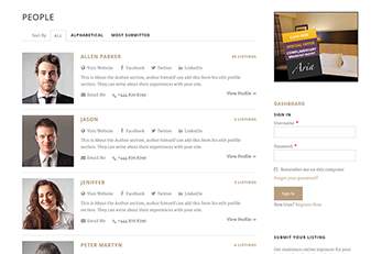 Submitters Index Page WordPress Splendor Theme