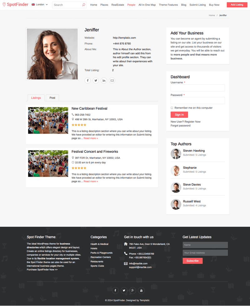 airbnb wp template theme