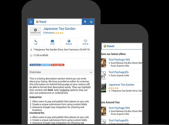 WordPress Travel Theme Mobile App View
