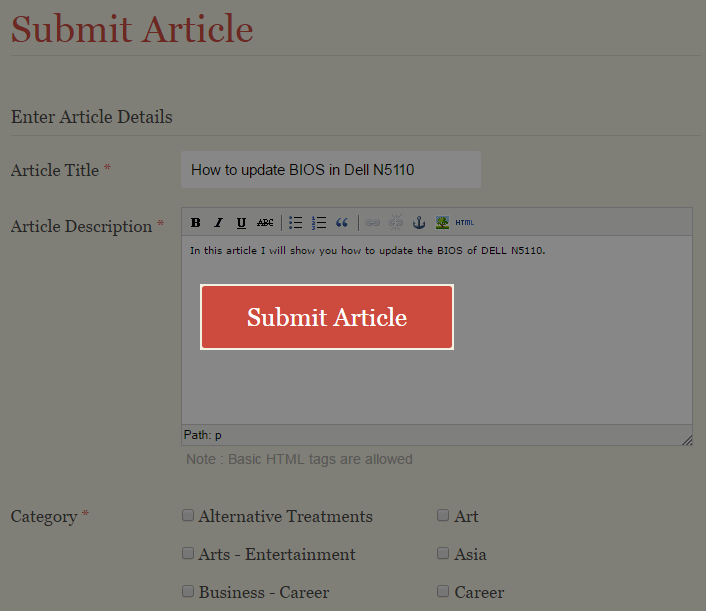 Ready to use submission form