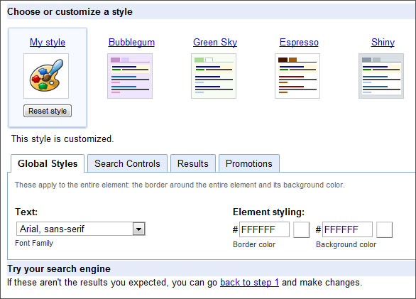 customize search