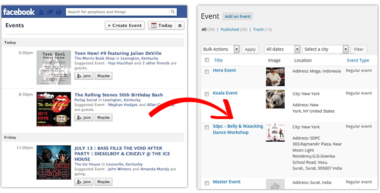 Import facebook events in your events directory site
