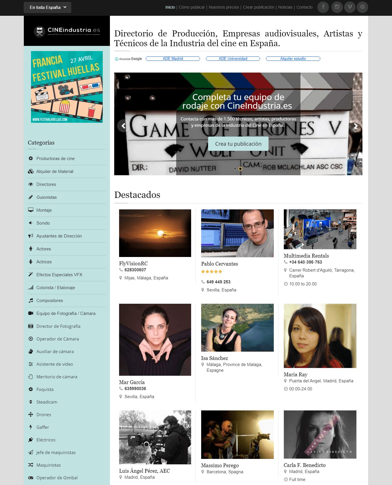 Cine industry directory website