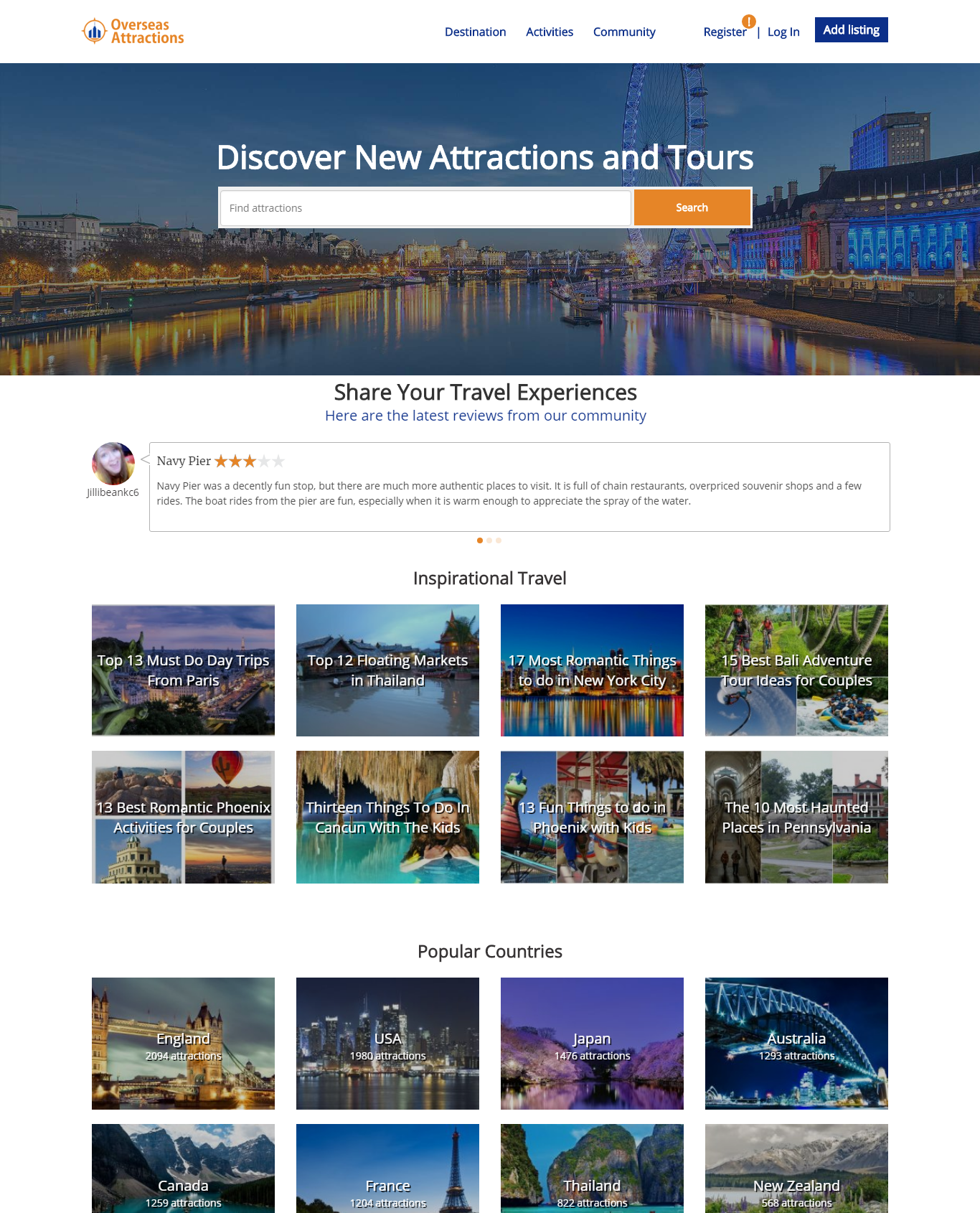 overseas attraction directory