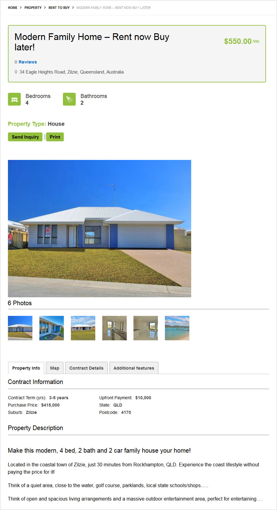 Real Estate Template Detail Page