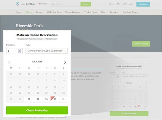 WooCommerce Bookings Compatible Listings Theme