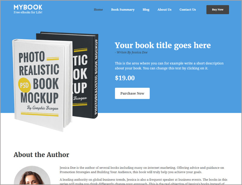 MyBook book launch WordPress theme