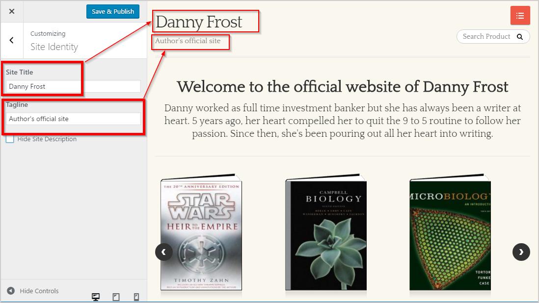 site identity settings