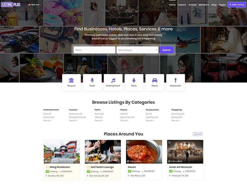 Listing Plus directory WordPress theme