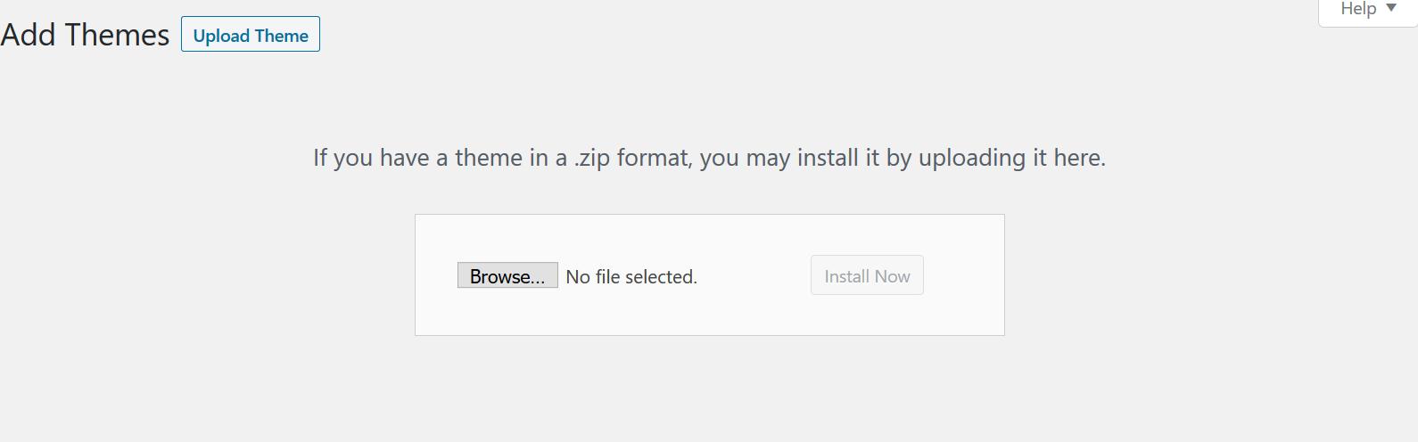 adding a new theme, WordPress
