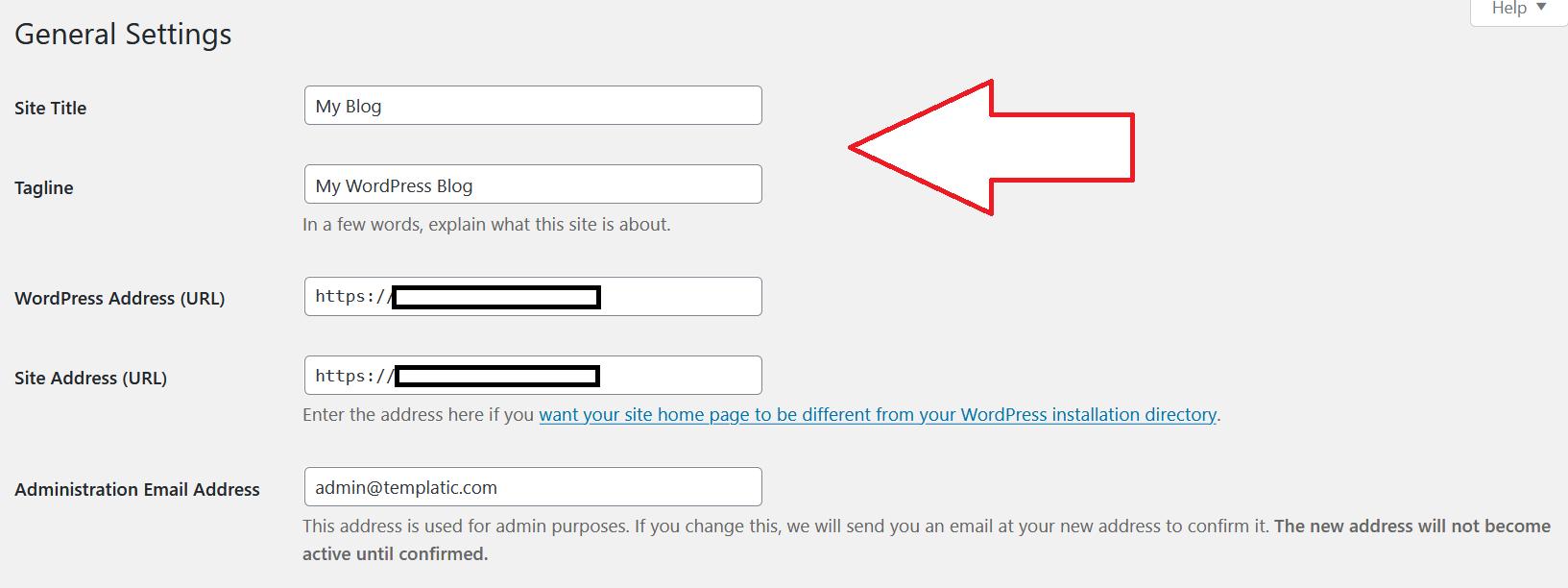 WordPress blog general settings