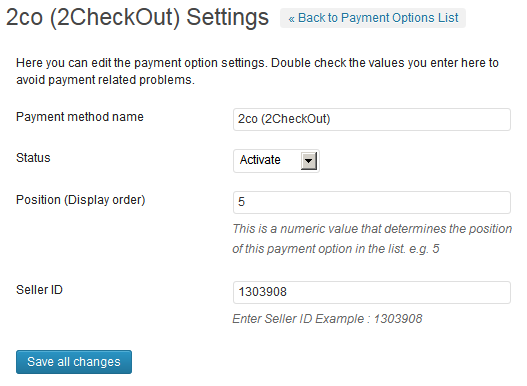 2Checkout back-end options panel