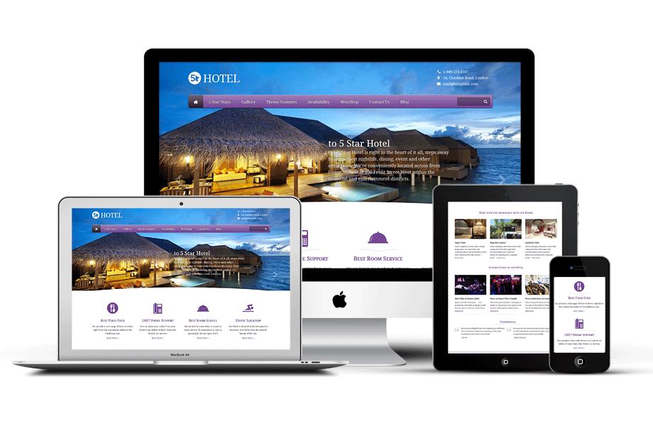 Fully Responsive 5 Star Hotel WordPress Theme