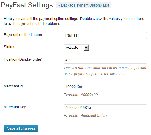 Payfast Paymet Gateway Plugin for WordPress